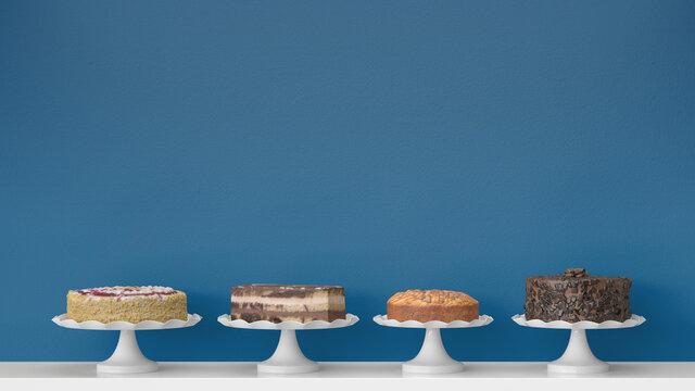 Auswahl verschiedener Kuchen und Torten in Café oder Konditorei