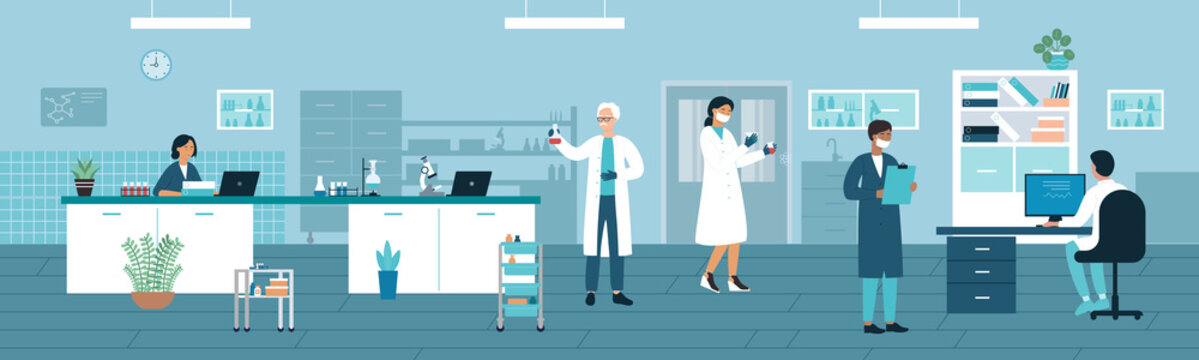 Doctor people work in medical laboratory vector illustration. Cartoon man woman medic researcher characters working with lab test tubes and flasks, scientists in analysis medicine research background