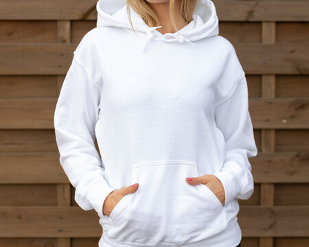 White hoodie sweatshirt mockup with copy space