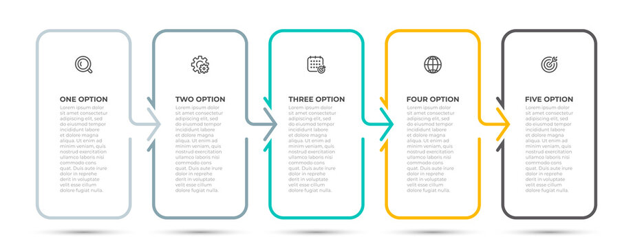 Business infographic thin line process with vertical rectangle template design with icons and 5 options or steps. Vector illustration.
