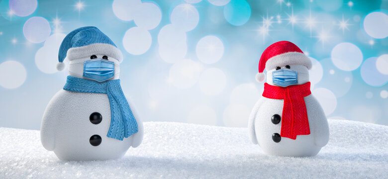 Two snowmen with face protection masks - 3D illustration