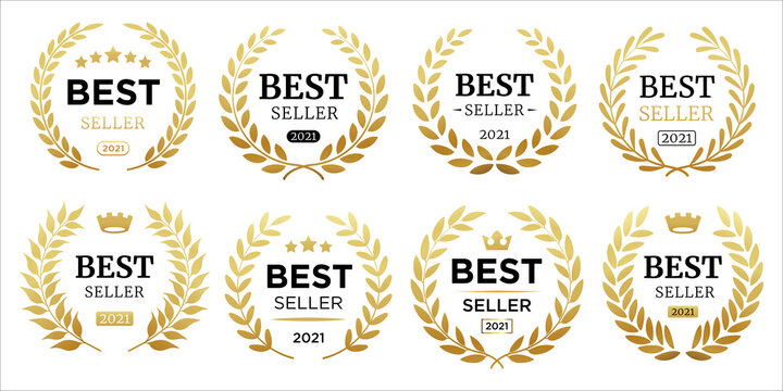 Best seller icon designs set with laurel, best seller badge logo template isolated on white vector illustration eps 10