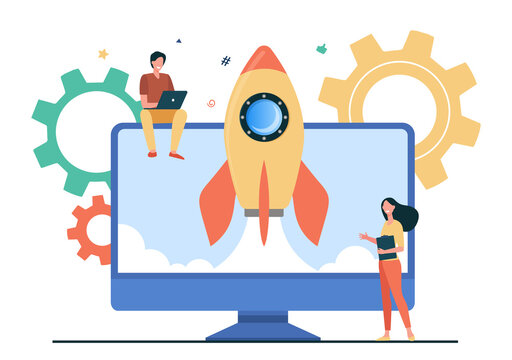 Tiny character launching startup rocket. Monitor, computer, idea flat vector illustration. Business and development concept for banner, website design or landing web page