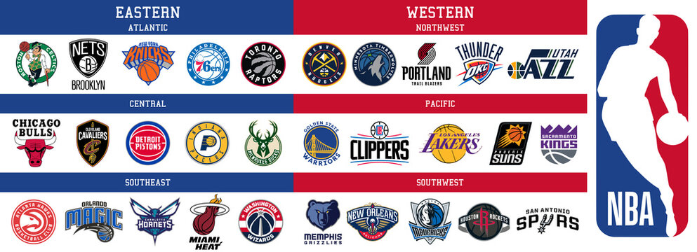 NBA All Conferences team logos, scaleable vector file, transparent