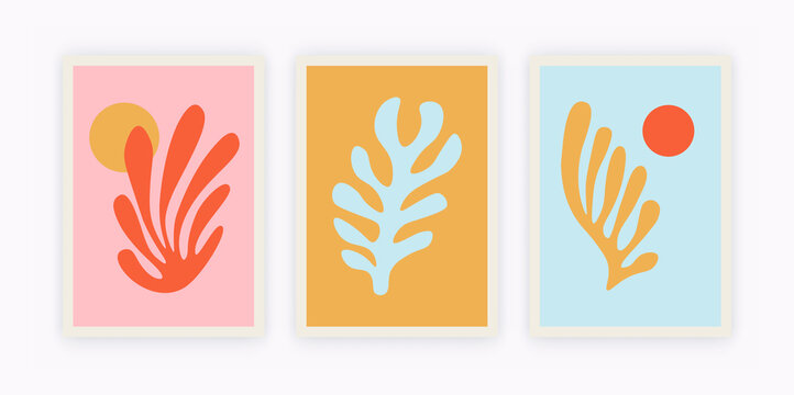 Contemporary Matisse inspired poster set. Abstract organic shapes, creative art, hand drawn collage set. Vector illustration