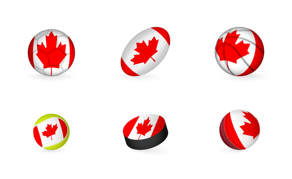 Sports equipment with flag of Canada. Sports icon set.