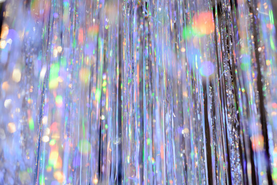 Silver streamers with sparkling glitter