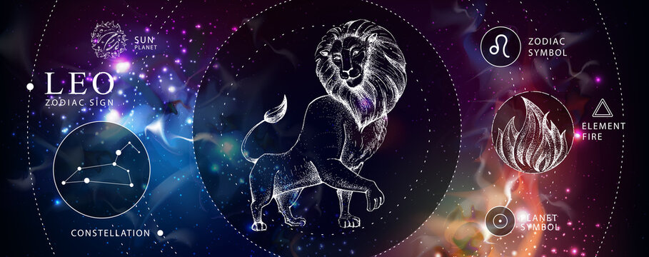 Modern magic witchcraft card with astrology Leo zodiac sign. Realistic hand drawing lion head. Zodiac characteristic