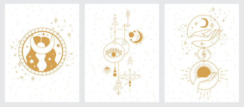 Achemy esoteric mystical magic celestial talisman with woman hands, sun, moon, stars sacred geometry isolated. Collection of mystical, mysterious illustrations in hand drawn style. Blindfolded girl