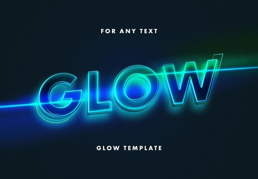 Glowing Outline Text Effect Mockup