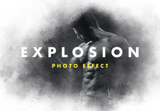 Powder Explosion Photo Effect Mockup
