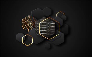 Fototapeta Black gold 3d abstract empty geometric background obraz