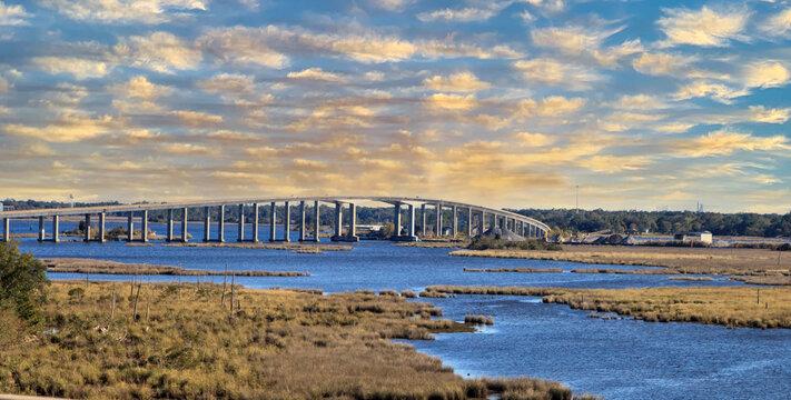 Sunset over Atchafalaya Basin Bridge, also called the Louisiana Airborne Memorial Bridge