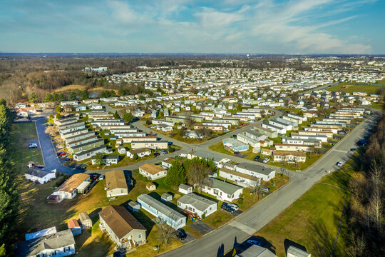 Aerial view of mobile home trailer park community in Delaware USA popular low income housing solution