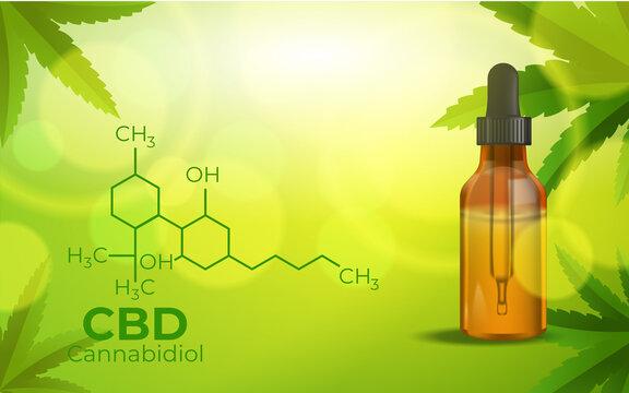 CBD Chemical Formula, Growing Marijuana, cannabinoids and health, medical marijuana, CBD elements in Cannabis. Beautiful background of green cannabis flowers A place for copy space