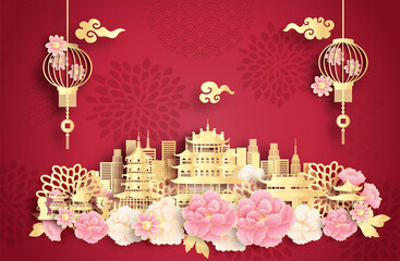 Fototapete - Hangzhou, China with world famous landmarks and beautiful Chinese lantern in paper cut style vector illustration