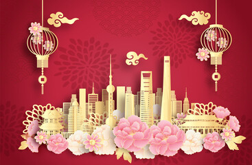 Fototapete - Shanghai, China with world famous landmarks and beautiful Chinese lantern in paper cut style vector illustration