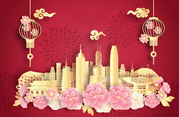 Fototapete - Hongkong, China with world famous landmarks and beautiful Chinese lantern in paper cut style vector illustration