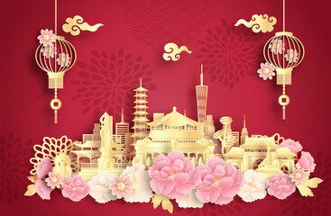 Fototapete - Chengdu, China with world famous landmarks and beautiful Chinese lantern in paper cut style vector illustration