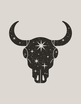 Mystic Black Silhouette of a Bull Skull in a Trendy Boho Style. Vector illustration of Magic Cow Head with Stars for print on wall, t-shirt, tattoo, social media post and stories
