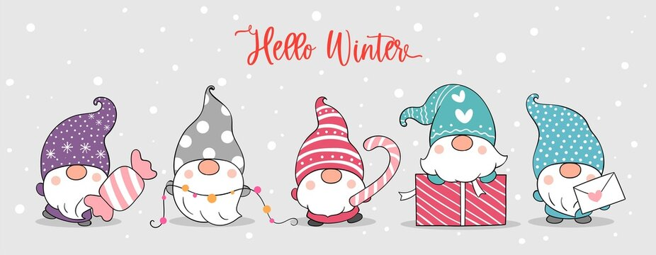 Draw banner cute gnomes in snow For winter.