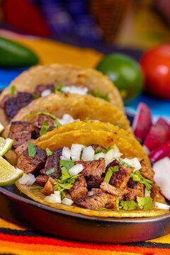 Close up on fresh Carne Asada street style tacos