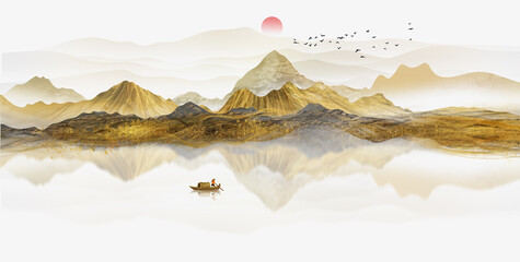 Canvas Prints White New Chinese Golden landscape painting