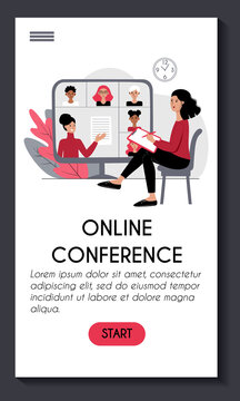 Mobile app template for online conference webinar e learning. Young woman is watching an online lecture. Teacher and students at the computer screen. Stock vector modern flat concept illustration.