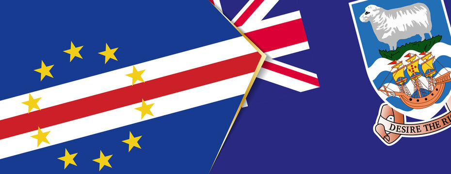 Cape Verde and Falkland Islands flags, two vector flags.