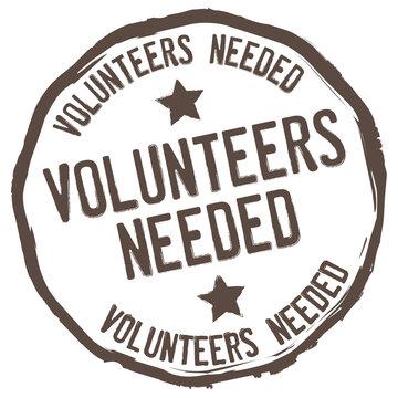 Volunteers Needed. Vector Grunge Icon.