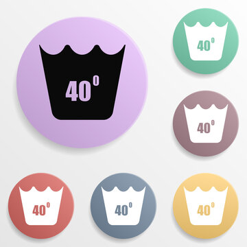 Machine wash at 40 degrees badge color set icon. Simple glyph, flat vector of wash icons for ui and ux, website or mobile application