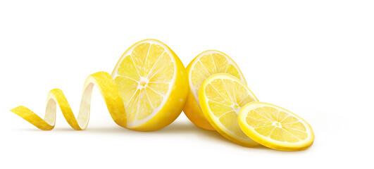 Fototapeta Halves of lemons with slices and peels on a white background. Vector illustration obraz