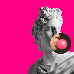 Collage with plaster head model, statue and female portrait isolated on pink background. Negative space to insert your text. Modern design. Contemporary colorful and conceptual bright art collage.