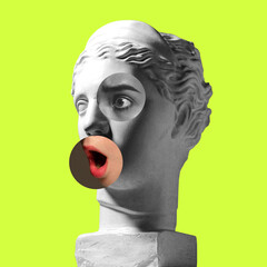 Collage with plaster head model, statue and female portrait isolated on green background. Negative...