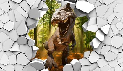 Obraz 3d picture dinosaur through a broken stone wall - fototapety do salonu