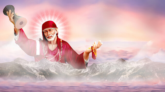 Sai Baba Hindu God of Shirdi wallpaper with clouds rays mountains  Om Sai Ram