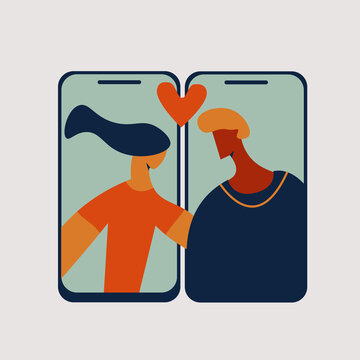 Woman and man connection via video call, online or virtual dating, quarantine valentines day