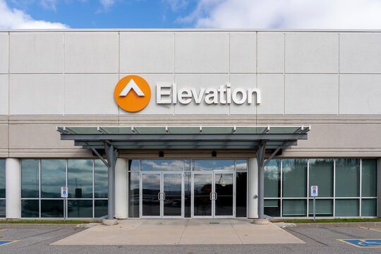Mississauga, Ontario, Canada - October 24, 2020: The entrance to Elevation Church Canada in Mississauga, Ontario, Canada. Elevation Church is a Southern Baptist multi-site church.