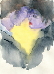 man and woman. abstract illustration. watercolor painting