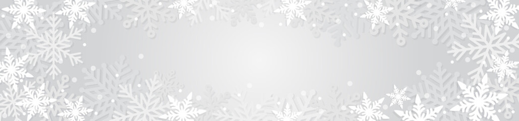 Christmas horizontal banner with snowflakes and snow. White on a gray background. Winter abstract design. Vector illustration. Fotomurales