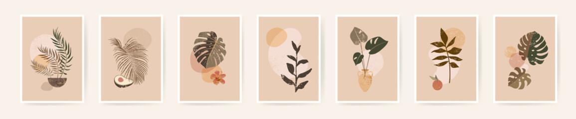 Fototapeta Boho aesthetic abstract botanical wall art poster prints. Scandinavian design, neutral natural colors. Bohemian collage wall prints. Mid Century Modern design. Plant fruit posters. Vector illustration