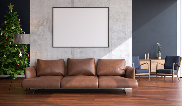 Living room with large Windows and christmas tree. Frame mockup in 140x100cm and sofa.