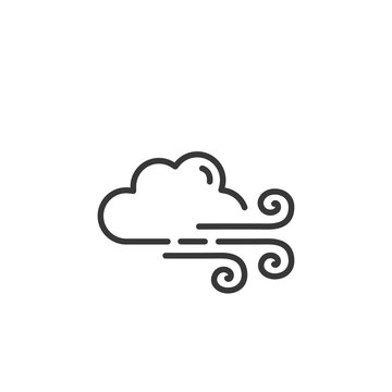 Strong wind and cloud thin line icon. Isolated weather vector illustration