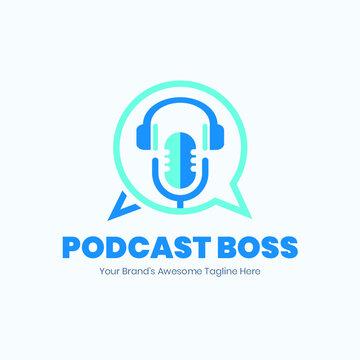 Podcast logo, podcast cover, microphone , studio logo, music logo, business logo