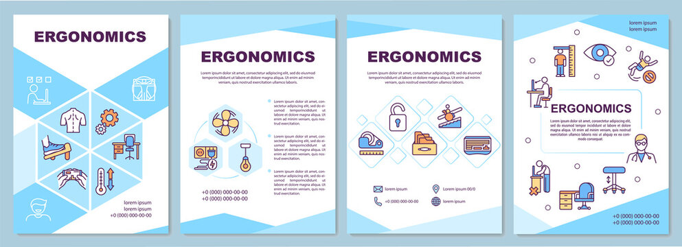Ergonomics brochure template. Prevent injuries and disorders. Flyer, booklet, leaflet print, cover design with linear icons. Vector layouts for magazines, annual reports, advertising posters