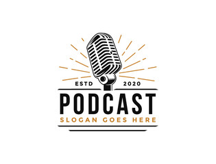 Fototapeta Vintage podcast,podcast logo,podcast cover,business logo,logo design, mic,microphone,music,studio,radio. obraz