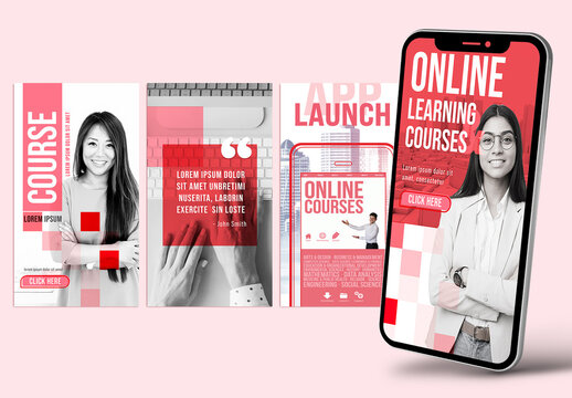 Red Color Social Media Post Layout Kit