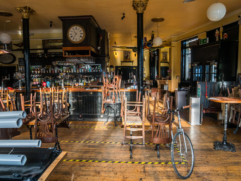 London, UK, December 17th 2020: Inside the Rosemary Branch theatre pub. Friendly gastropub with interesting art and eccentric decor, plus a studio theatre upstairs. Closed due to a 3rd lockdown.