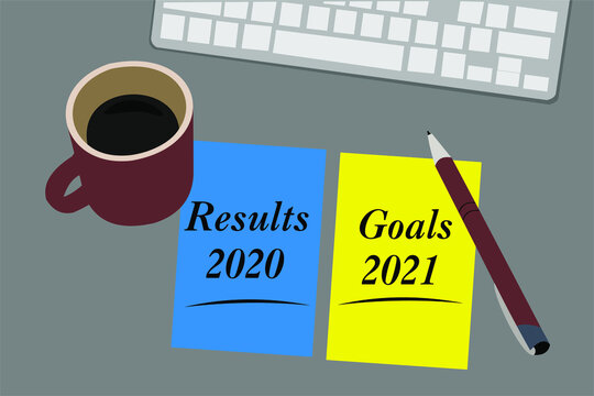 Results 2020 and Goals 2021 - reports and plans on the desktop. Business New Year concept - 2021 is replacing 2020 year
