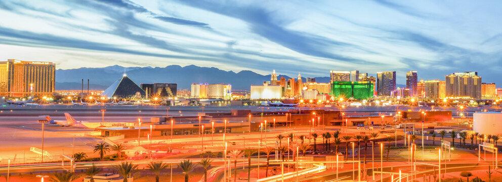 Panorama of Las Vegas Strip at Sunset